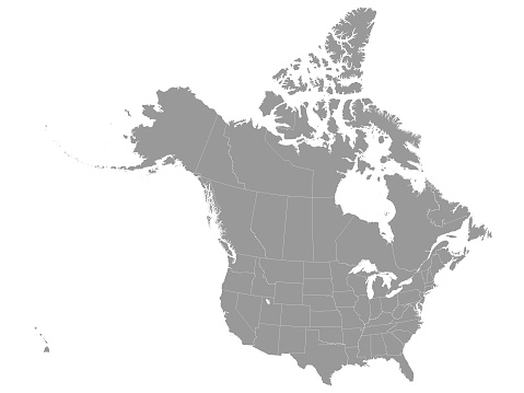 Gray Federal Map of USA and Canada