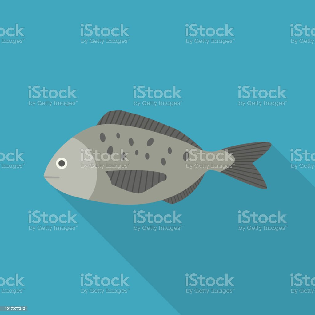 Gray fish icon in flat long shadow design vector art illustration