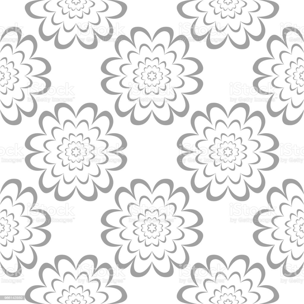 Gray floral ornament on white background. Seamless pattern - arte vettoriale royalty-free di Arabesco - Motivo ornamentale
