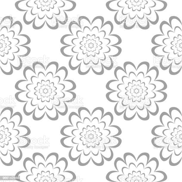 Gray Floral Ornament On White Background Seamless Pattern — стоковая векторная графика и другие изображения на тему Абстрактный