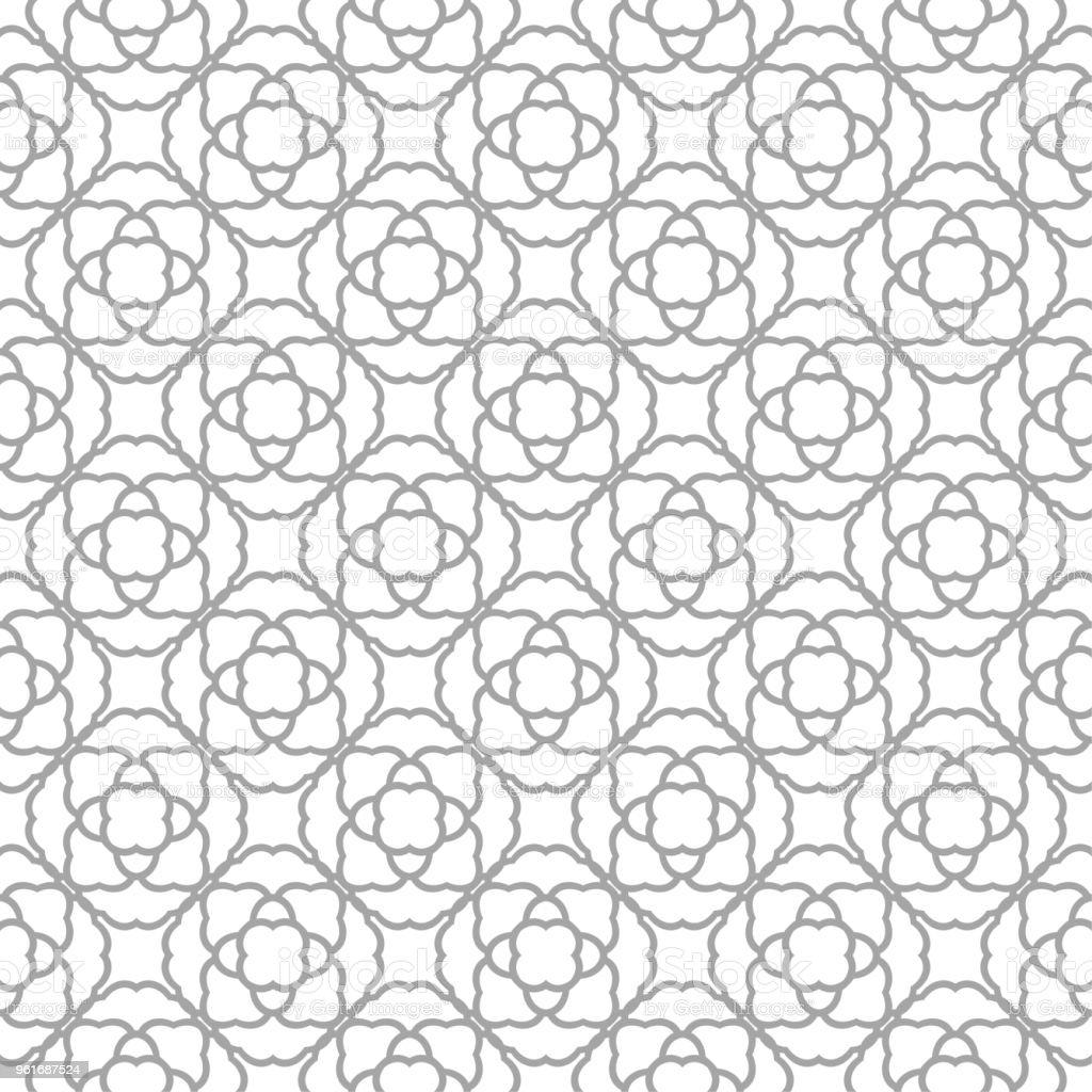 Gray floral ornamental design on white. Seamless backround vector art illustration