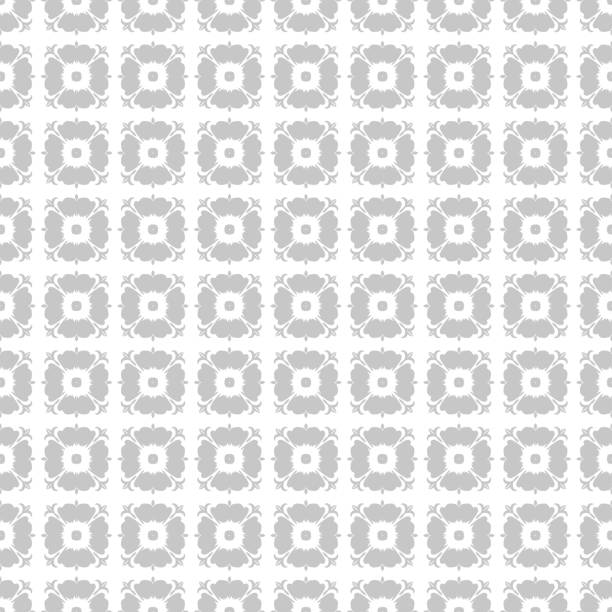 Gray floral seamless pattern on white background vector art illustration