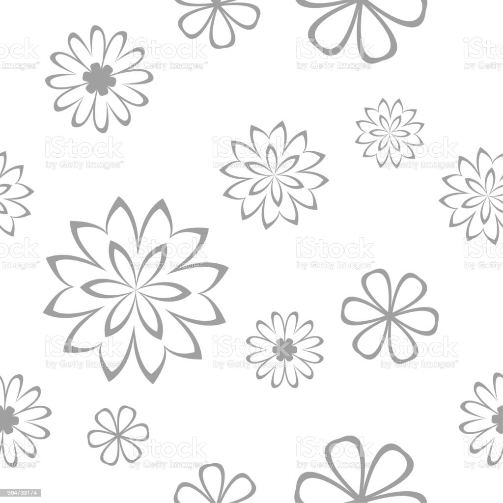 Gray floral seamless pattern on white background royalty-free gray floral seamless pattern on white background stock illustration - download image now