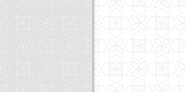 Bекторная иллюстрация Gray flower seamless patterns. Wallpaper background