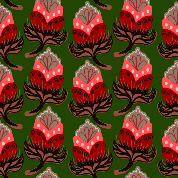 gray flower with red on a dark green color vector art illustration