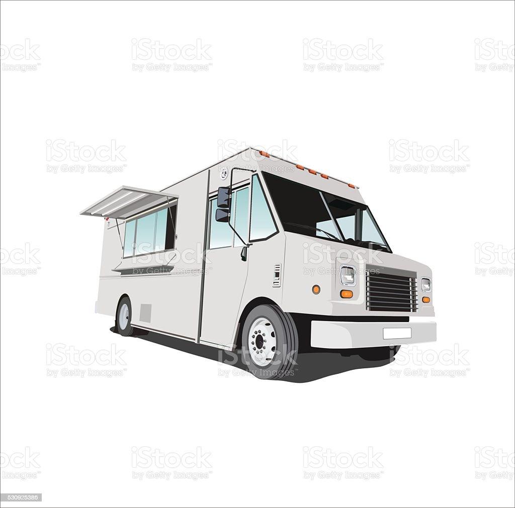 Gray Food Truck vector art illustration