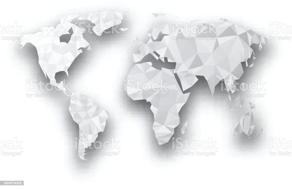 Gray Geometric Abstract World Map Stock Vector Art More Images Of