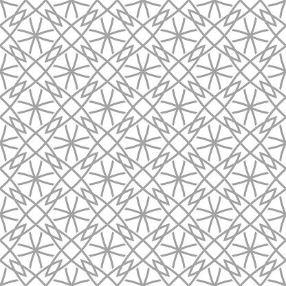 Grijze Geometrische Ornament Op Witte Achtergrond Naadloze Patroon Stockvectorkunst en meer beelden van Abstract