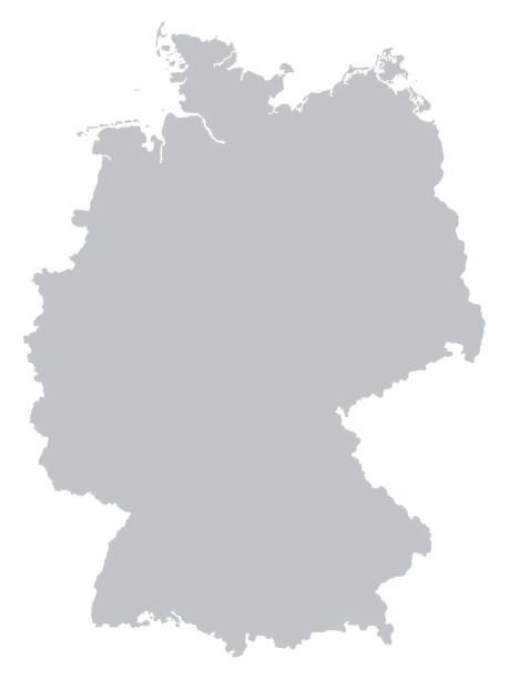 szara mapa niemiec odizolowana na białym tle. - niemcy stock illustrations