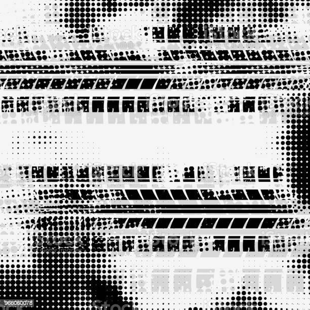 Grå Halvton Däck Spår Bakgrund-vektorgrafik och fler bilder på Abstrakt