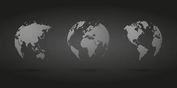 gray hatched globe simple icon on black background vector art illustration