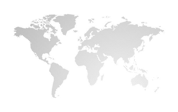 gray hatched map of the world modern style gray hatched map of the world continent geographic area stock illustrations