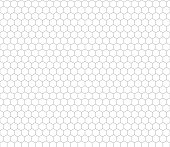 Gray hexagon grid on white, seamless pattern