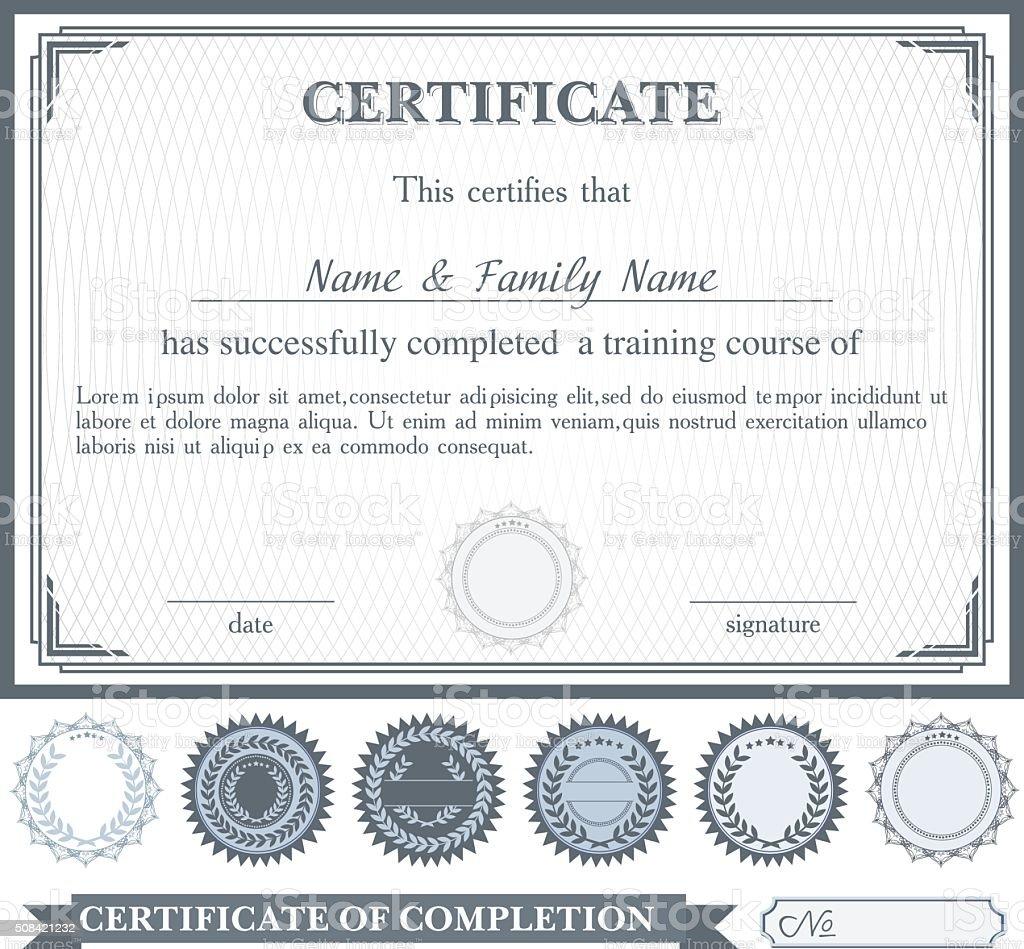 Gris horizontales modèle de certificat avec d'autres éléments de conception - Illustration vectorielle