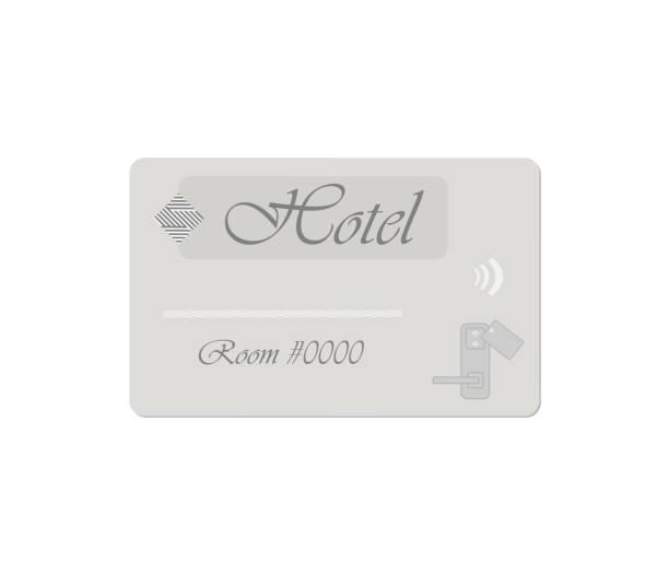 Gray hotel RFID key card isolated on white, vector template Gray hotel RFID key card isolated on white background. Vector template. cardkey stock illustrations
