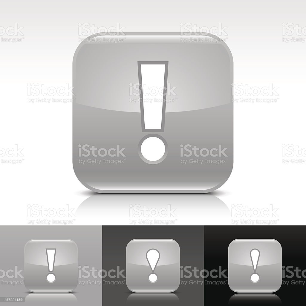Gray icon exclamation point sign glossy rounded square internet button royalty-free stock vector art
