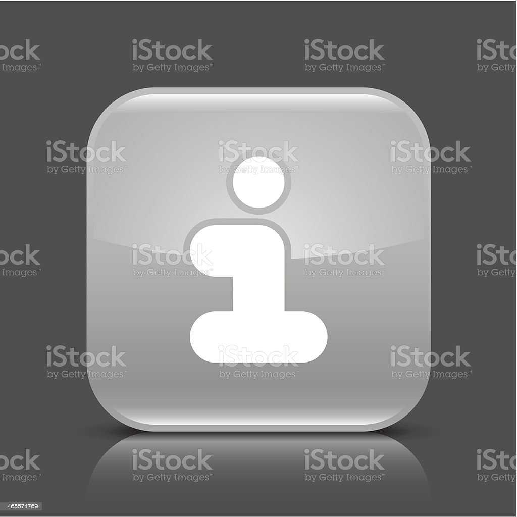 Gray icon information sign glossy square web button royalty-free stock vector art