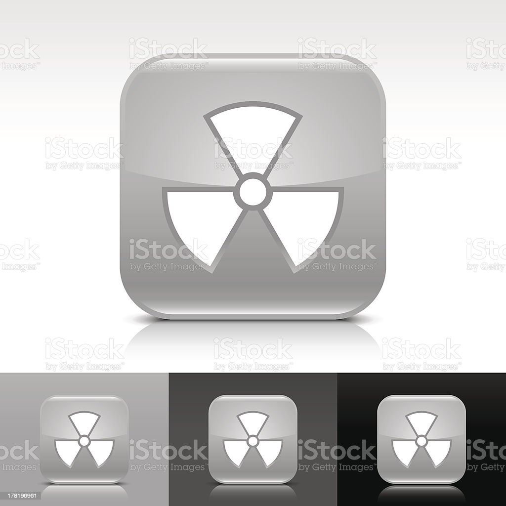 Gray icon radiation sign glossy rounded square web internet button royalty-free stock vector art