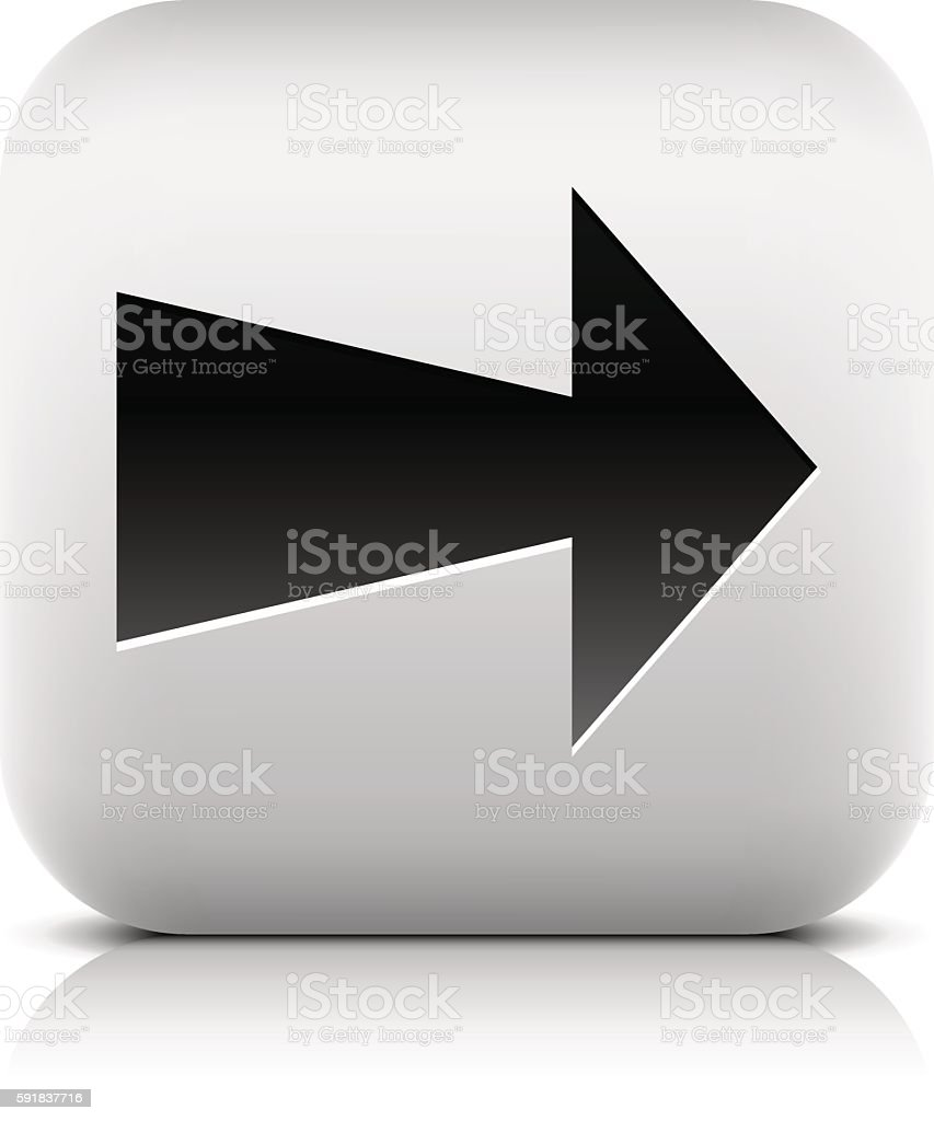 Gray icon with black arrow sign vector art illustration