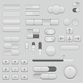 Gray interface buttons and sliders. 3d set of UI icons. Vector illustration
