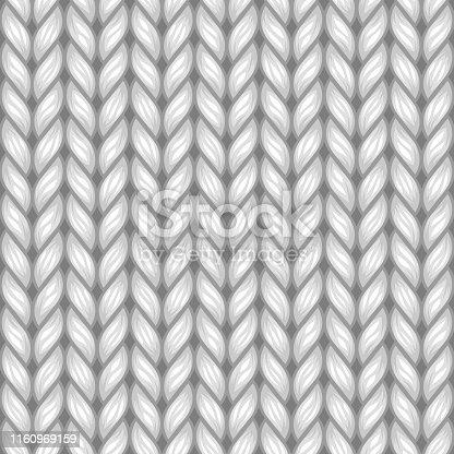 Gray Knit Texture Seamless Pattern. Vector Light Background