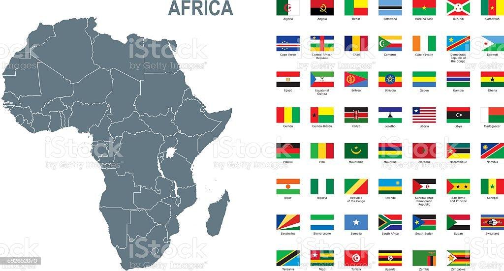 Gray map of Africa with flag against white background - ilustração de arte em vetor