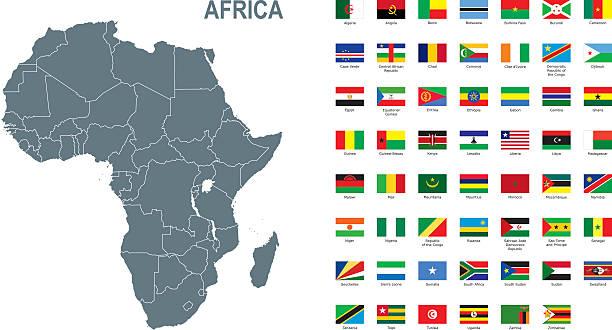 illustrations, cliparts, dessins animés et icônes de gray map of africa with flag against white background - cartes et drapeaux