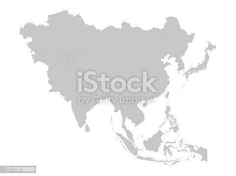 istock Gray Map of Asia with countries 1211816569