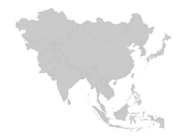 graue karte von asien mit ländern - asien stock-grafiken, -clipart, -cartoons und -symbole