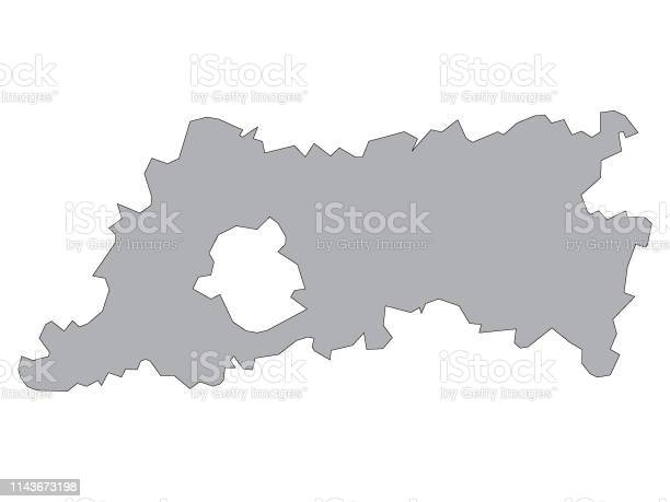 Vector Illustration of the Gray Map of Belgian Province of Flemish Brabant