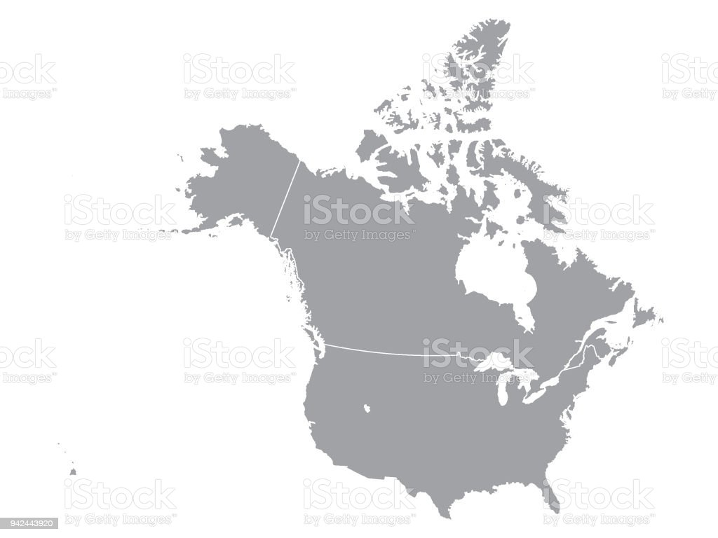Gray Map Of Canada And Usa Stock Illustration   Download Image Now