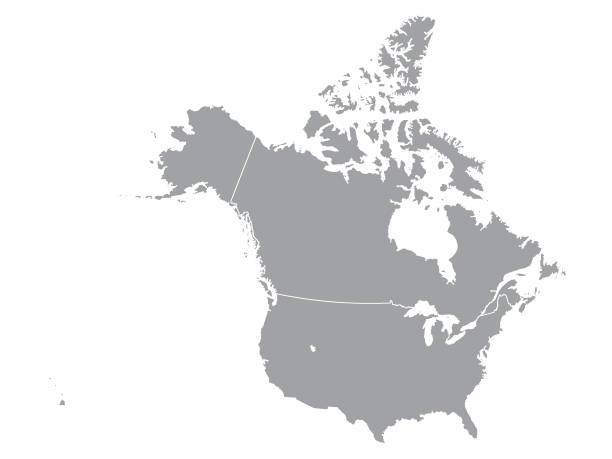 gray map of canada and usa - kanada stock illustrations
