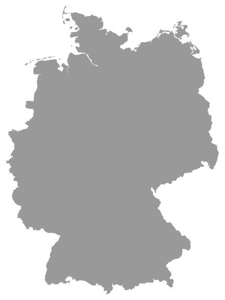 bildbanksillustrationer, clip art samt tecknat material och ikoner med grå karta över tyskland på vit bakgrund - germany map leipzig