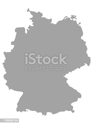 vector illustration of Gray map of Germany on white background