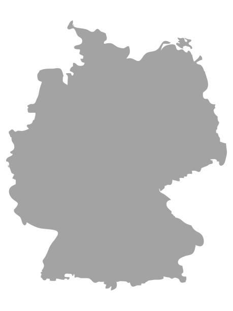 szara mapa niemiec na białym tle - niemcy stock illustrations