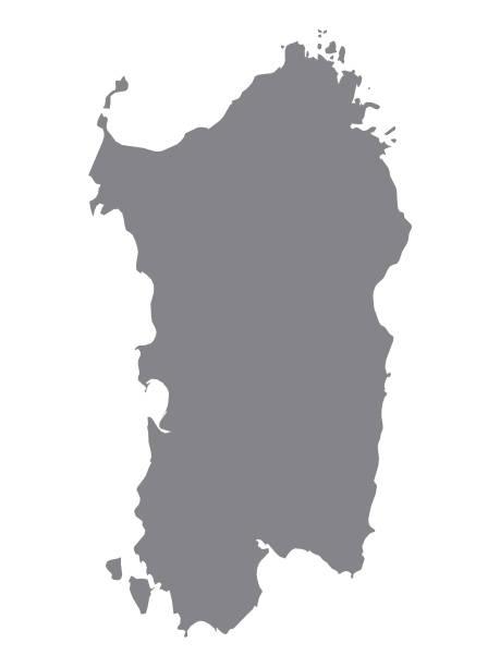 illustrazioni stock, clip art, cartoni animati e icone di tendenza di mappa grigia della regione sardegna - sardegna