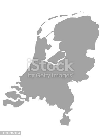 vector illustration of Gray map of Netherlands on white background