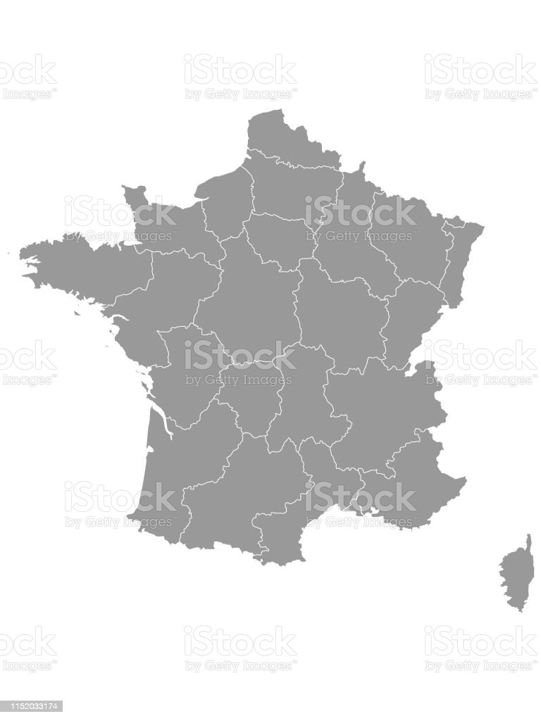 Map Of Provinces In France.Gray Map Of Provinces Of France Stock Illustration Download Image