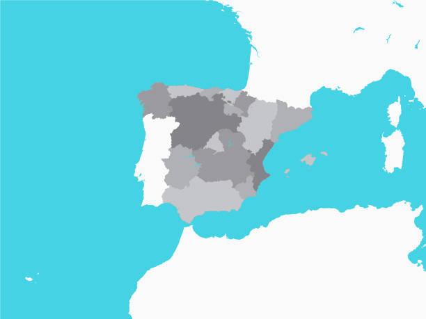 graue landkarte der regionen spaniens mit umhütendem gelände - alicante stock-grafiken, -clipart, -cartoons und -symbole