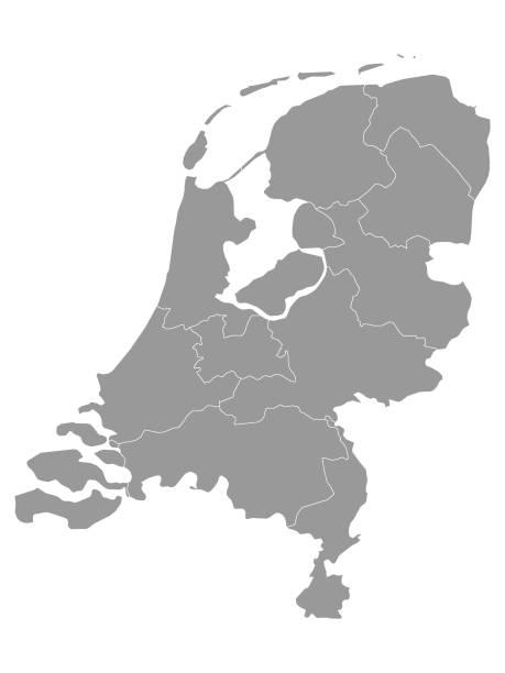 stockillustraties, clipart, cartoons en iconen met grijze kaart van de regio's van nederland - eindhoven