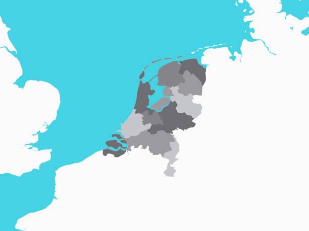 stockillustraties, clipart, cartoons en iconen met grijze kaart van de regio's van nederland met omliggend terrein - eindhoven