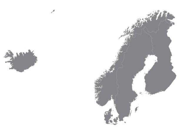 bildbanksillustrationer, clip art samt tecknat material och ikoner med grå karta över skandinavien på vit bakgrund - sweden map