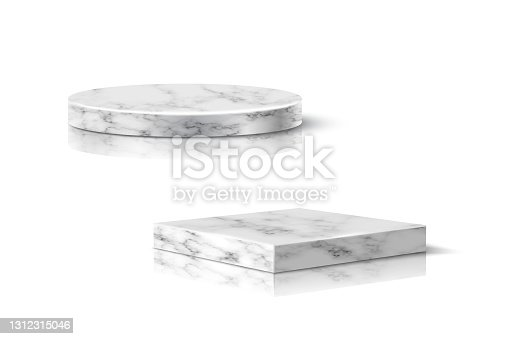 istock Gray marble round and square podiums for product. 3d pedestals in stone pattern vector illustration. Geometric stages isolated on white background. Realistic place for advertising or decoration 1312315046