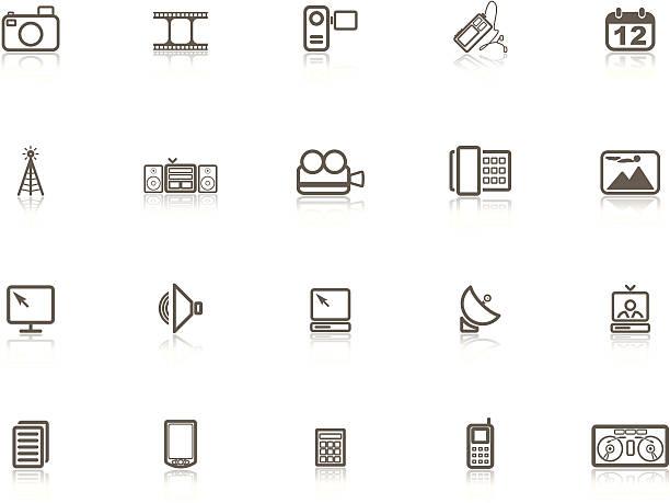 Gray Media Icon Set vector art illustration