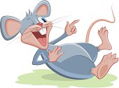 Gray mouse lies and laughs. Vector cartoon illustration