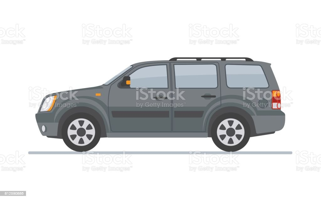 Gray off-road car isolated on white background. vector art illustration