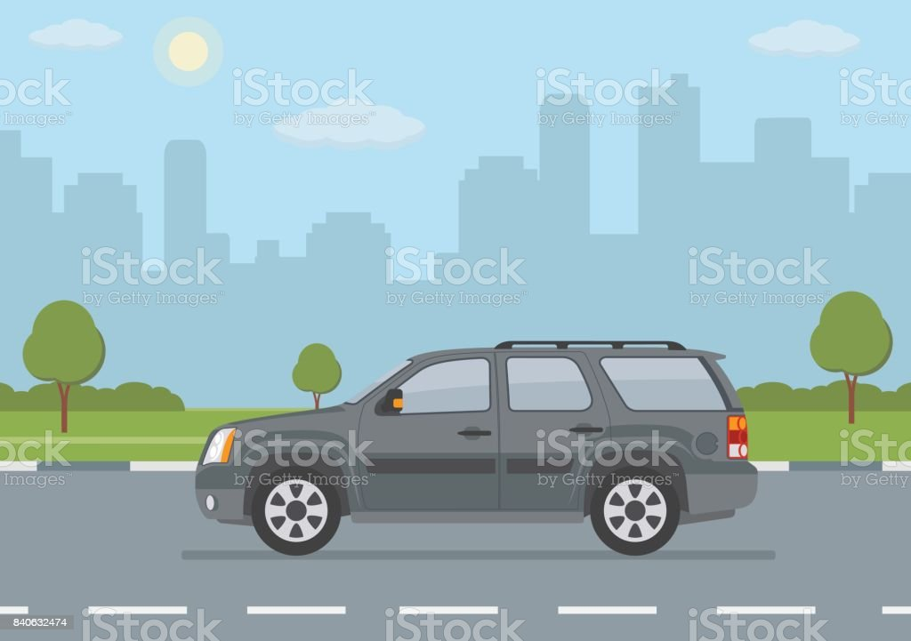 Gray off-road car on city background vector art illustration