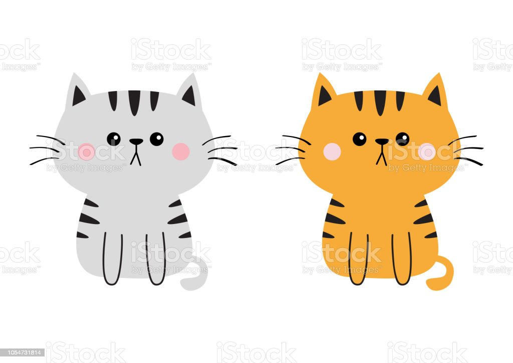 Gray Orange Cat Sad Head Face Silhouette Set Cute Cartoon Sitting Kitty Character Kawaii Animal Funny Baby Kitten Love Greeting Card Flat Design White Background Isolated Stock Illustration Download Image Now