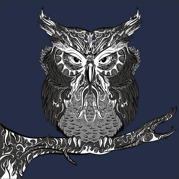 gray owl mit weiß ornament - pastellhosen stock-grafiken, -clipart, -cartoons und -symbole