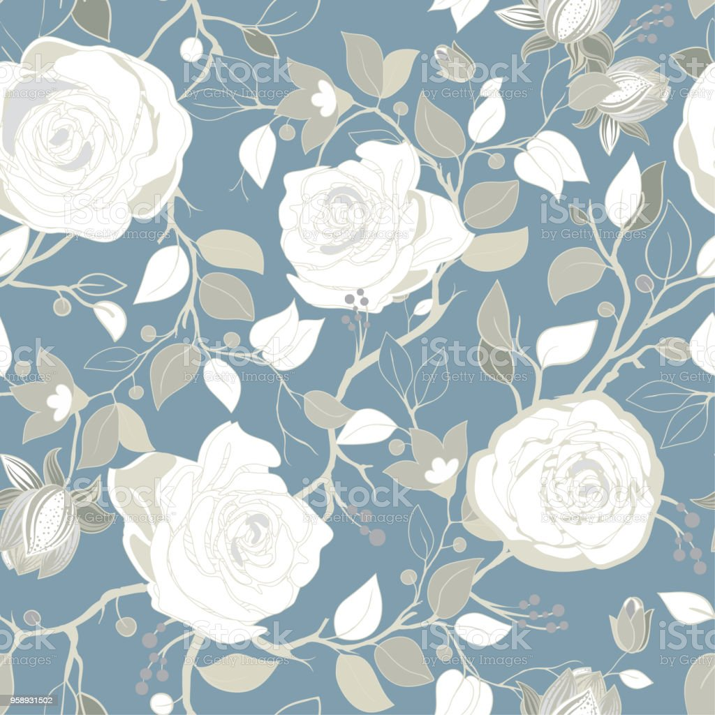 Gray Pattern With Big White Roses Vector Wallpaper With Big
